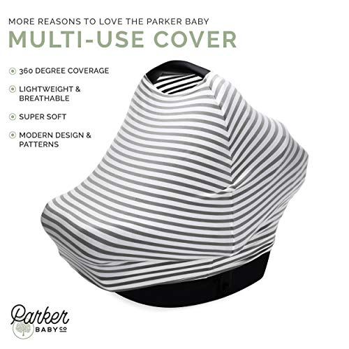 Parker Baby 4 in 1 Car Seat Cover for Girls and Boys - Stretchy Carseat Canopy, Nursing Cover, Grocery Cart Cover, High Chair Cover -