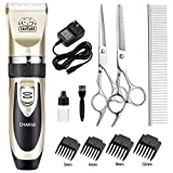 CAHTUOO Dog Grooming Clippers, Professional Pet Grooming Kit Rechargeable Pet Shaver Cordless Silent Dog Hair Trimmer with 4 Comb Attachments & Extra Tools for Dogs Cats and Pets (Upgrade Version)
