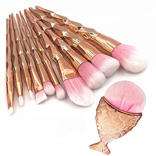 Ensemble de pinceaux de maquillage en or rose 11pcs, queue de poisson sirène