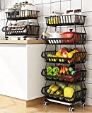 5 Tier Wire Storage Basket Metal Stackable Rolling Cart Fruit Vegetable Baskets Organizer Storage Bins with Wheels for Organizing Kitchen Pantry Closet Bathroom