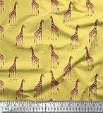 Soimoi Gelbe Seide Stoff Dot & Giraffe Tier Gedruckt