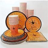 MAGRF 24pcs Set di stoviglie USA e Geta di Zucca di Piatti Bicchieri Di Carta Tovaglioli Cartone Festa Forniture per Compleanno C