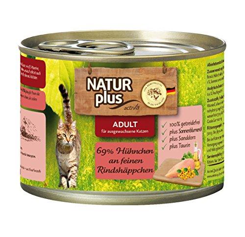 NATUR plus Katzenfutter ADULT mit 69% Hühnchen an feinen Rindshäppchen (getreidefrei) - 6 x 200 g