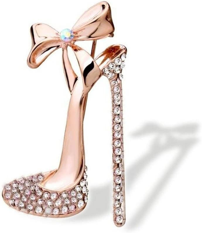 Reizteko Crystal High Heels Shoes Brooch Pins Jewelry Gift For Women Men (Gold-Toned White)