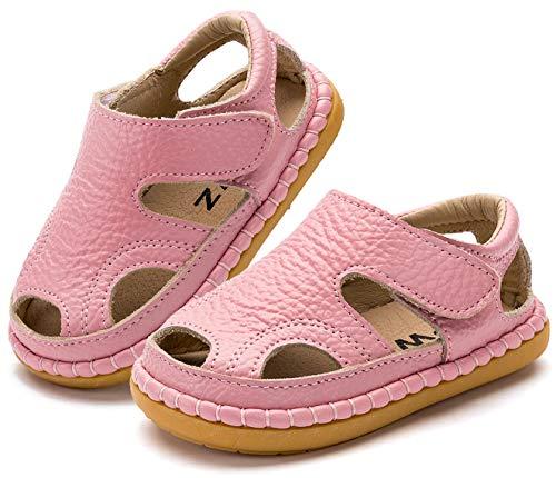 Gaatpot Unisex-Kinder Sandalen Mädchen Jungen Kindersandale Geschlossene Baby Sommer Leder Sandale Lauflernschuhe Schuhe Pink(Baby) 23 EU/19 CN