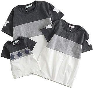 (JUTAOPIN)親子ペアルック t シャツ 可愛い おそろい 親子服 親子ペア tシャツ 半袖 大きいサイズ S M L XL 2XL 3XL 子供身長65-150CMまで対応 大人 37KG-105KGまで対応
