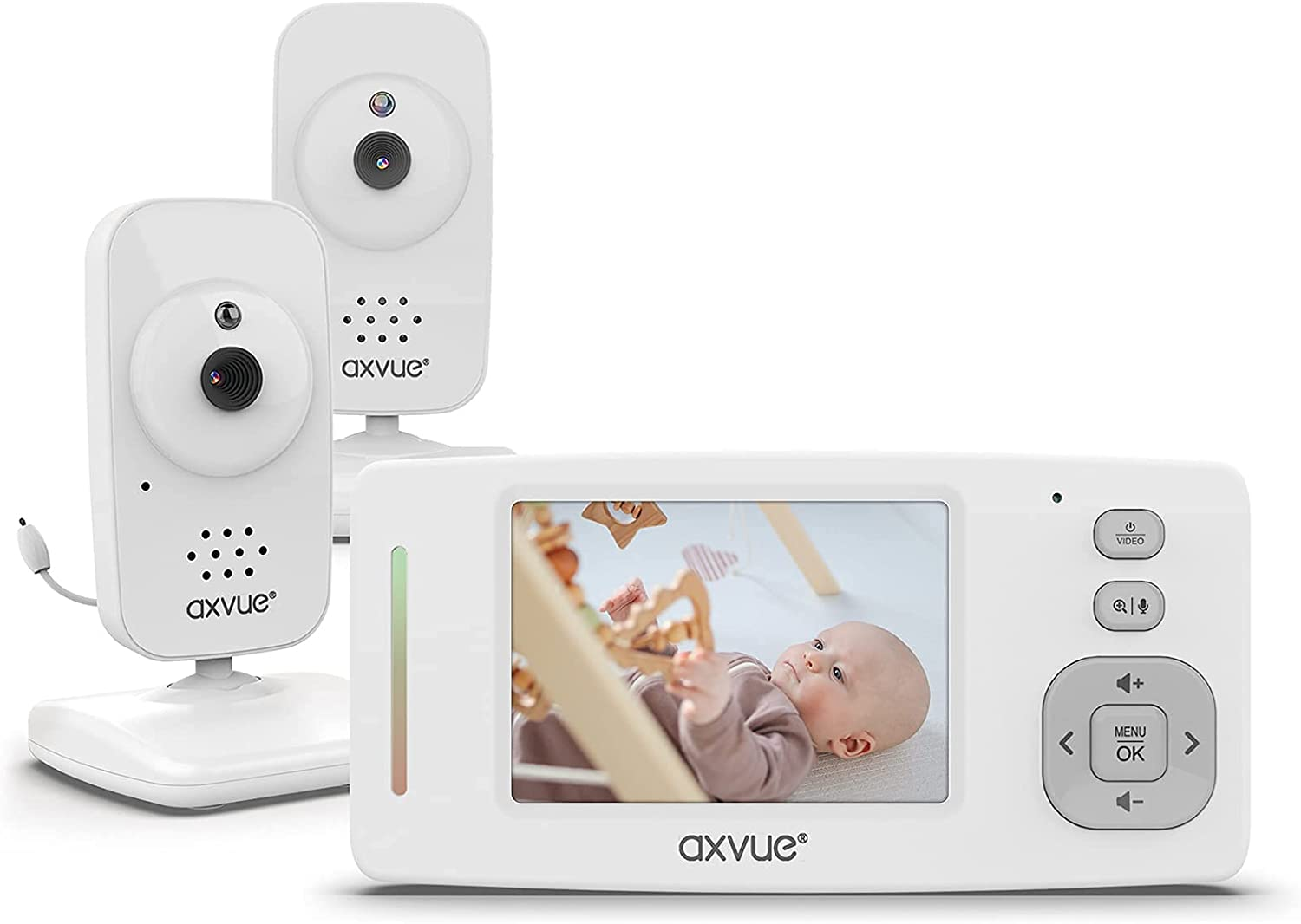 [Upgraded 2021] Video Baby Monitor w/ 2 Digital Cameras HR Color Screen Ultra Long Life Battery 1,000ft Range Day/Night Vision Temperature Display by AXVUE