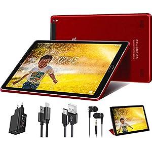 GOODTEL G2 Tablet 10 Pulgadas Android 9.0 Tablet Quad-Core, RAM de 3GB, ROM de 32GB, Dual SIM Cámara Dual 8000mAh Batería Bluetooth WiFi, Fundas Cuero, Auriculares, Cargadores - Rojo