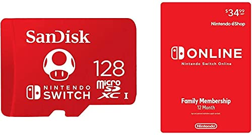 SanDisk 128GB MicroSDXC UHS-I Memory Card for Nintendo Switch - SDSQXAO-128G-GNCZN with Nintendo Switch Online Family...