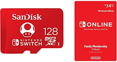 SanDisk 128GB MicroSDXC UHS-I Memory Card for Nintendo Switch - SDSQXAO-128G-GNCZN with Nintendo Switch Online Family Membership 12 Month - Nintendo Switch [Digital Code]