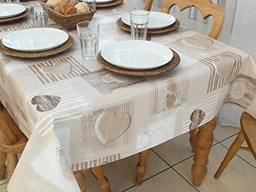 Nice-Doormats55x118 (1.4x3.0M) Mantel OBLONGO PVC/Vinilo - Corazones Madera Beige - 10/12 PLAZAS