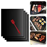 RFWIN BBQ Grill Mat Set of 4, Non-stick Barbecue Grill & Baking Mats with Silicone Brush, Reusable and Baking...