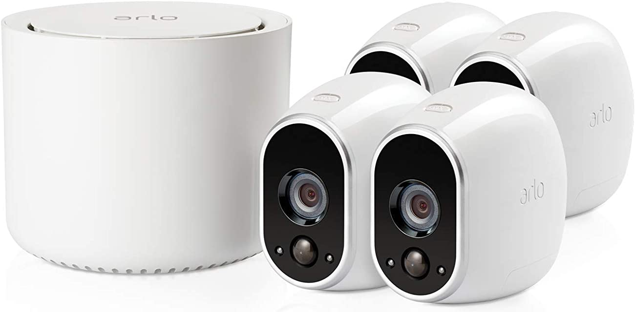 Arlo VMS3430 - Sistema Inteligente de Seguridad y vigilancia con cámaras IP 100% Libres de Cables (4 Unidades Montaje en Interior y Exterior Resistentes al Agua no Sumergible)