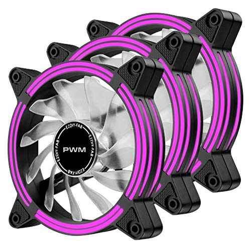 EZDIY-FAB Ventilador de Caja de LED Doble Marco silencioso PWM de 120 mm para Cajas de PC, refrigeradores de CPU y radiadores, Púrpura 3Pack