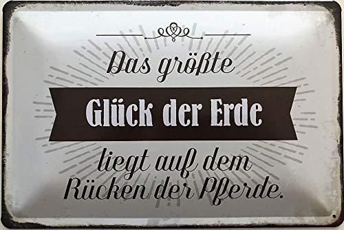 Deko7 metalen bord 30 x 20 cm Spreuk: Het grootste geluk van de aarde ligt op de rug van de paarden