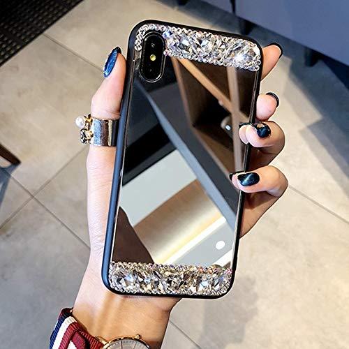 AAA&LIU Funda para teléfono con Espejo Brillante para iPhone 12 Mini 11 Pro MAX XR XS MAX X 8 7 6 6S Plus SE 2020 Funda Bling Dimaond para iPhone 11, Plateada, para iPhone 11 Pro