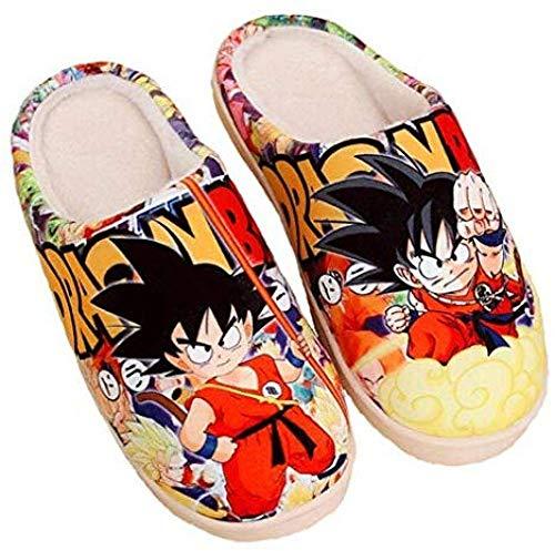 SHOESESTA Zapatillas De Felpa Invierno Damas Hombres Anime Lindo Cálido Hogar Casual Interior Antideslizante Zapatos Dragon_Ball_ (Hembra42-44 / Masculino41-43.5) EU_290