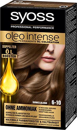 Syoss Oleo Intense Lot de 3 colorants pour cheveux Blond foncé 6-10 (3 x 115 ml)