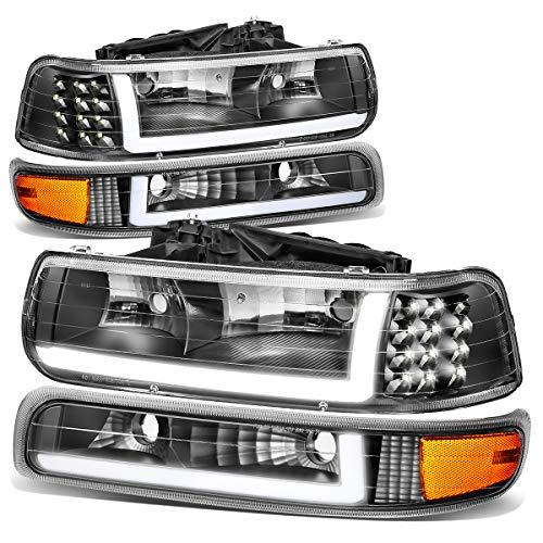 4PCS Black Housing Amber Corner LED DRL Headlight + Bumper Lamps Replacement for Chevy Silverado Suburban Tahoe 99-06