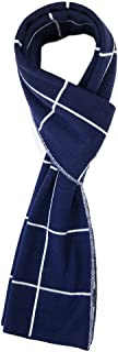 Jeff & Aimy Warm Luxurious Cashmere Feel Winter Scarf for Men Soft Woven Scarves Plaid Pattern
