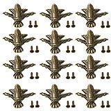 12 Piezas Patas para Muebles Antiguo, Caja de Madera Pies Decorativos de Pierna, Antigua Esquina Decorativa de Muebles, Latón Antiguo Pies, con Tornillos, para Caja de Madera Decoración