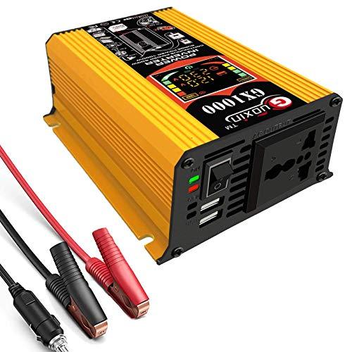 XHNXHN Inversor de onda sinusoidal pura de 500 W 12 V CC a 220-240 V CA, inversor de coche de tipo toma internacional, puertos USB duales de 2.1 A, potencia máxima de 1000 W