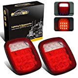 Partsam 2x Universal 16 LED Stop Tail Turn Signal Backup Reverse Brake Clearance Marker Lights Lamps Red/White Replacement for Jeep YJ JK CJ Truck Trailer Waterproof 12V