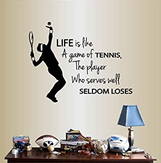Wall Vinyl Decal Home Decor Art Sticker Life is Like a Game Of Tennis, The Player Who Serves Well Seldom Loses Phrase Quote Lettering Tennis Player Boy Man Sport Sportsman Room Removable Stylish Mural Unique Design