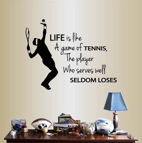 Wall Vinyl Decal Home Decor Art Sticker Life is Like a Game Of Tennis, The Player Who Serves Well Seldom Loses Phrase Quote Lettering Tennis Player Boy Man Sport Sportsman Room Removable Design 454