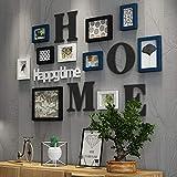Marcos de fotos Collage de marco de foto Madera de combinación de madera sólida marco de foto marco pared de fondo creativo decoración de pared (Color : Azul)
