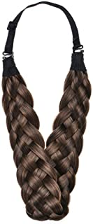 Braided Hair Band Headband Wig 5 Strands Synthetic Multi-Color Thick Headband Ladies Beauty Headwear (Brownish yellow)