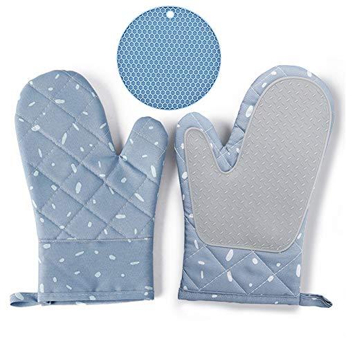 Warxin Ofenhandschuhe und Topflappen, Hitzebeständige Handschuhe Topfhandschuhe, Silikon Anti-Rutsch Grillhandschuhe, Geeignet für Kochen, Backen, Grillen, Blau