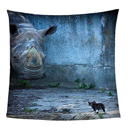 ZZZXX Cama Gato Gato Rinoceronte Animal Gris Manta De Sofá Felpa Tacto Suave Agradable Manta Foulard Plaid Súper Suaves Esponjosas para El Sofá Cama Colcha 180X200Cm