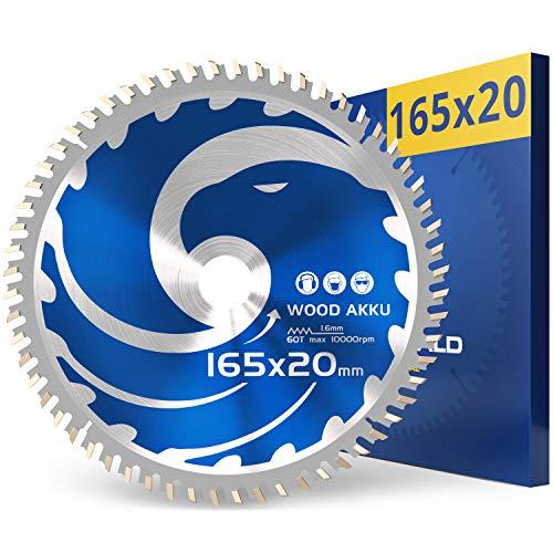 FALKENWALD Hoja de sierra con batería, 165 x 20, ideal para madera, compatible con Bosch GKS 18v-57g, Bosch GKT 55 GCE, Makita SP6000 - Hoja de sierra circular 165 x 20, hoja de sierra circular 165