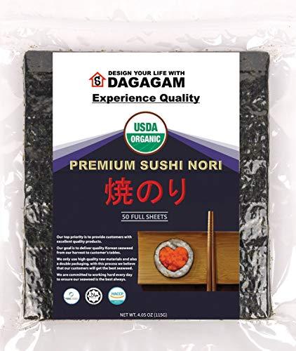 DAGAGAM Organic Sushi Nori (50 Full Sheets) : Dietary Fiber Seaweed Sheets