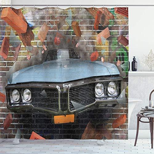 Cars Duschvorhang, Graffiti mit grafischem Auto-Motiv auf einer Ziegelmauer, U-Bahn-Streetenstil, Stoffstoff, Badezimmer-Dekor-Set mit Haken, grau ziegelrot, 139,7 x 182,9 cm