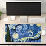 Desk Pad Non-Slip PU Leather Desk Mat Oil Painting Starry Night Blue Yellow Gaming Mouse Pad Keyboard Laptop Desktop Computer Mat for Office Home 31.5