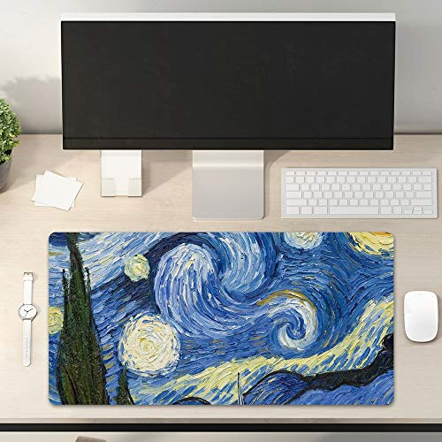 Desk Pad Non-Slip PU Leather Desk Mat Oil Painting Starry Night Blue Yellow Gaming Mouse Pad Keyboard Laptop Desktop Computer Mat for Office Home 31.5' x 15.7'