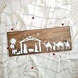 SIGNS Manto navideño de madera divertido para belén y decoración de Navidad,...