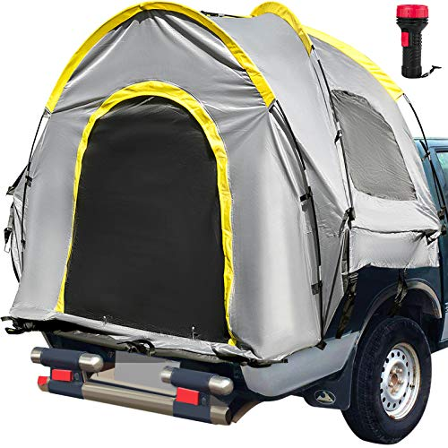 VEVOR Truck Tent 6.4-6.7' Truck Bed Tent, Full Size Pickup Tent, Waterproof Truck Camper, 2-Person Sleeping Capacity, 2 Mesh Windows, Easy To Setup Truck Tents For Camping, Hiking, Fishing, Grey Color