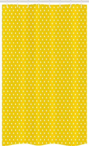 ABAKUHAUS Weinlese-Gelb Schmaler Duschvorhang, Retro Tupfen, Badezimmer Deko Set aus Stoff mit Haken, 120 x 180 cm, Gelb & Weiß