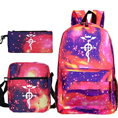 Fullmetal Alchemist Backpack 3Pcs/Sets School Bags for Teenage Girls Shoulder Bags Tote Pencil Case Travel Rucksack 7 3Pcs Set