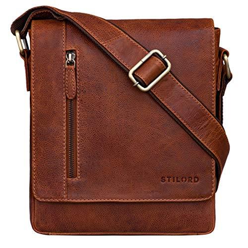 STILORD 'Easton' Kleine Messenger Bag Echt Leder Vintage Umhängetasche im Hochformat 10,1 Zoll Tablet Tasche für iPad DIN A5 Schultertasche Echtleder, Farbe:Arona - braun