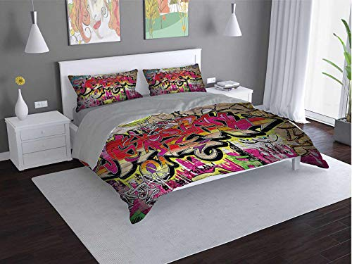 Toopeek Brick-Wall 3-pack (1 duvet cover and 2 pillowcases) Graffiti-Spray-Paint Polyester (King)