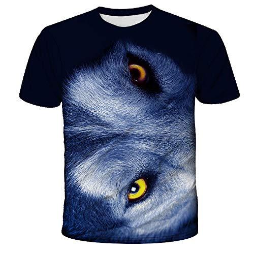 Unisex 3D Impreso Verano Camiseta Casual Patrón Impreso Secado Rápido Casual Verano Camisetas Novedad Camiseta De Manga Corta Lobo Gafas Afiladas Animal-A_S