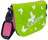 CreaDesign, Kindergartentasche Rosa mit (Wunsch) Name personalisiert, ideale Tasche für Kindergarten und Kindergrippe, Größe 20 x 19 x 8 cm, Motiv Schmetterling grün