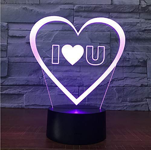 3D LED I Love You Sweet Lover Heart Balloon USB romantische decoratieve kleurrijke nacht licht bruid party verjaardag cadeau