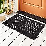 Antiguo tapete para puerta de entrada de mano con borde para...