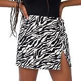 FeMereina Faldas Cortas Ajustadas para Las Mujeres - Falda Minifalda con Estampado de Leopardo (Blanco, M)