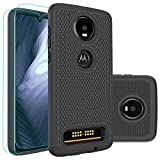 Moto Z4 Play Case,Moto Z4 Case with HD Screen Protector [2 Pack] Huness Durable Armor and Resilient Shock Absorption Case Cover for Motorola Moto Z4 Play Phone (Black)